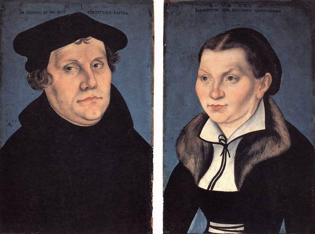 Мартин Лютер с женой