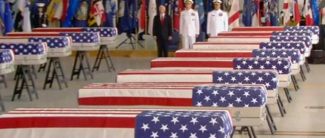 Майк Пенс на церемонии возвращения останков американских солдат с КНДР