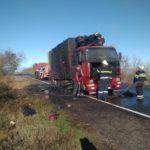 На трассе под Изюмом загорелся грузовик с 13 тоннами мороженой рыбы